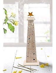 storeindya 感謝祭ギフト 木製クリスマスツリーのお香 高さ14インチ ホワイトとゴールド ゴールド箔 新築祝いに最適