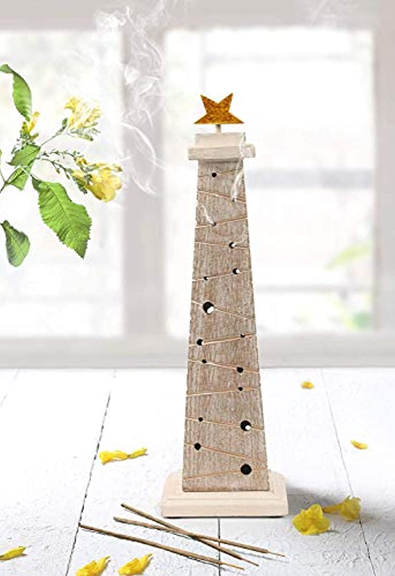 ベール素晴らしいさまようstoreindya 感謝祭ギフト 木製クリスマスツリーのお香 高さ14インチ ホワイトとゴールド ゴールド箔 新築祝いに最適
