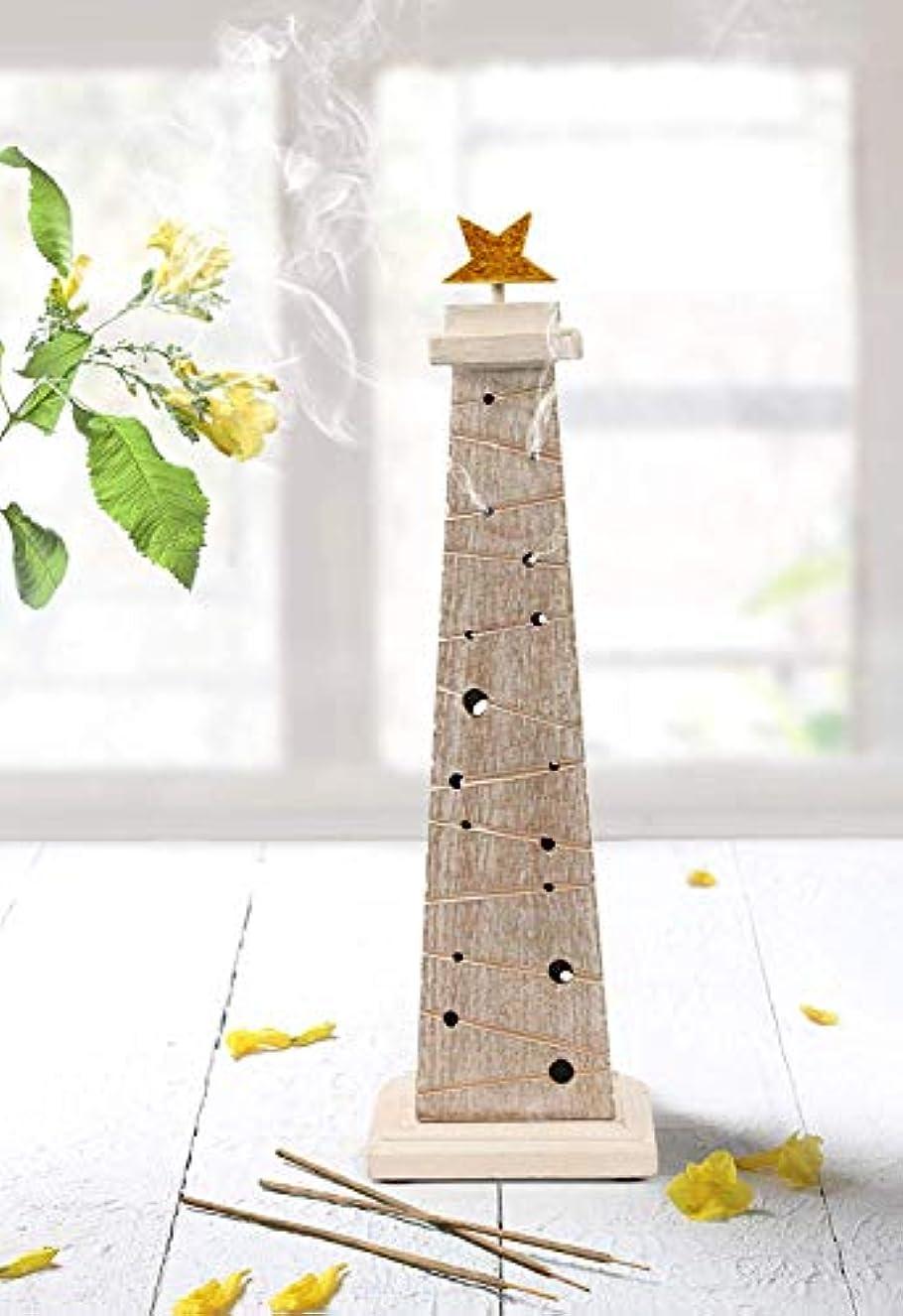 どんよりした本気緩やかなstoreindya 感謝祭ギフト 木製クリスマスツリーのお香 高さ14インチ ホワイトとゴールド ゴールド箔 新築祝いに最適
