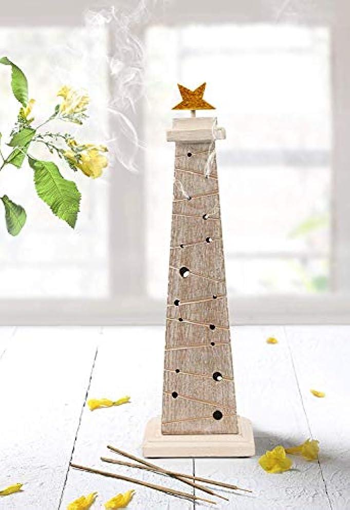 いらいらするドキドキ電気陽性storeindya 感謝祭ギフト 木製クリスマスツリーのお香 高さ14インチ ホワイトとゴールド ゴールド箔 新築祝いに最適
