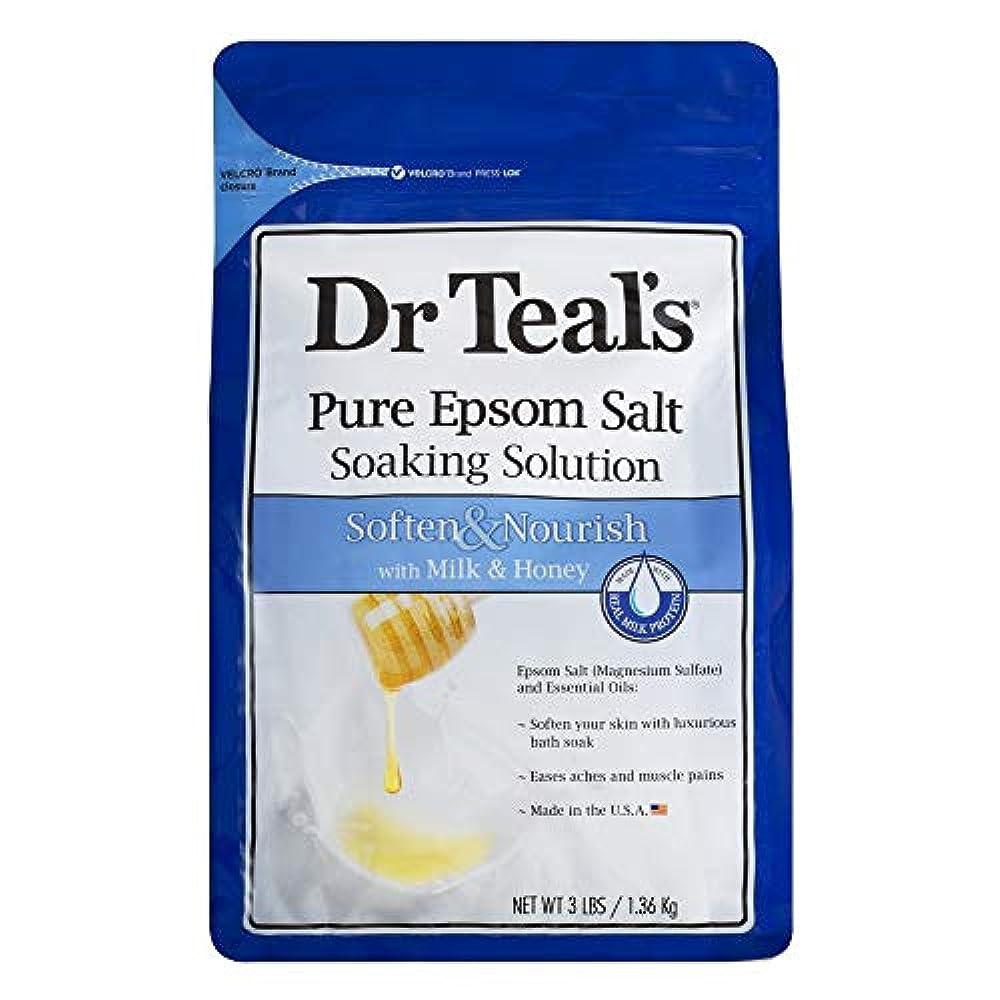 ボートすべき見捨てるDr Teal's Epsom Salt Soaking Solution, Soften & Nourish, Milk and Honey, 3lbs