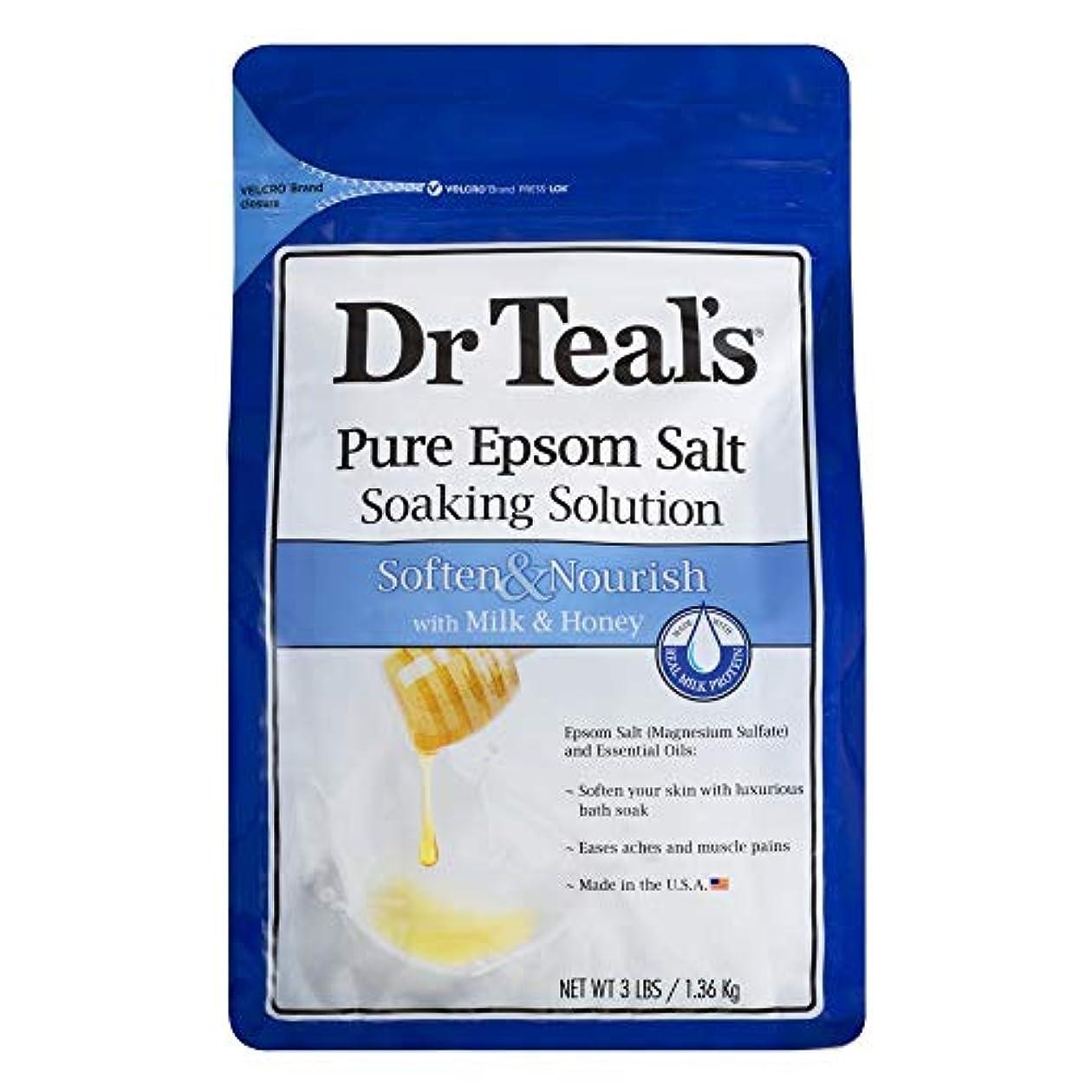 発行不満熱帯のDr Teal's Epsom Salt Soaking Solution, Soften & Nourish, Milk and Honey, 3lbs