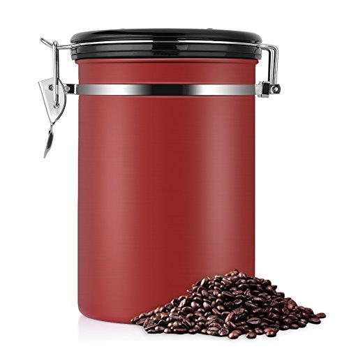コーヒー豆 保存容器 コーヒーキャニスター ステンレス 密閉 おしゃれ コーヒー貯蔵缶 大容量 キッチン用品 四種カラー選択可能 1.8L, レッド