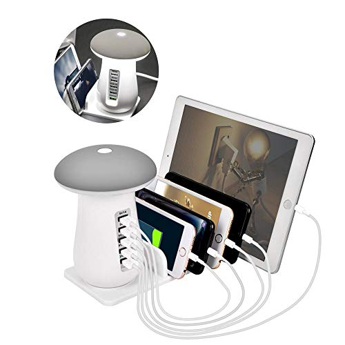 充電ステーション 充電スタンド 5ポート USB充電器 5台同期 急速充電 かわいい led スタンドライト テーブルランプ クレードル 新型 iPhone iPod iPad Androidスマホ タブレット ホワイト
