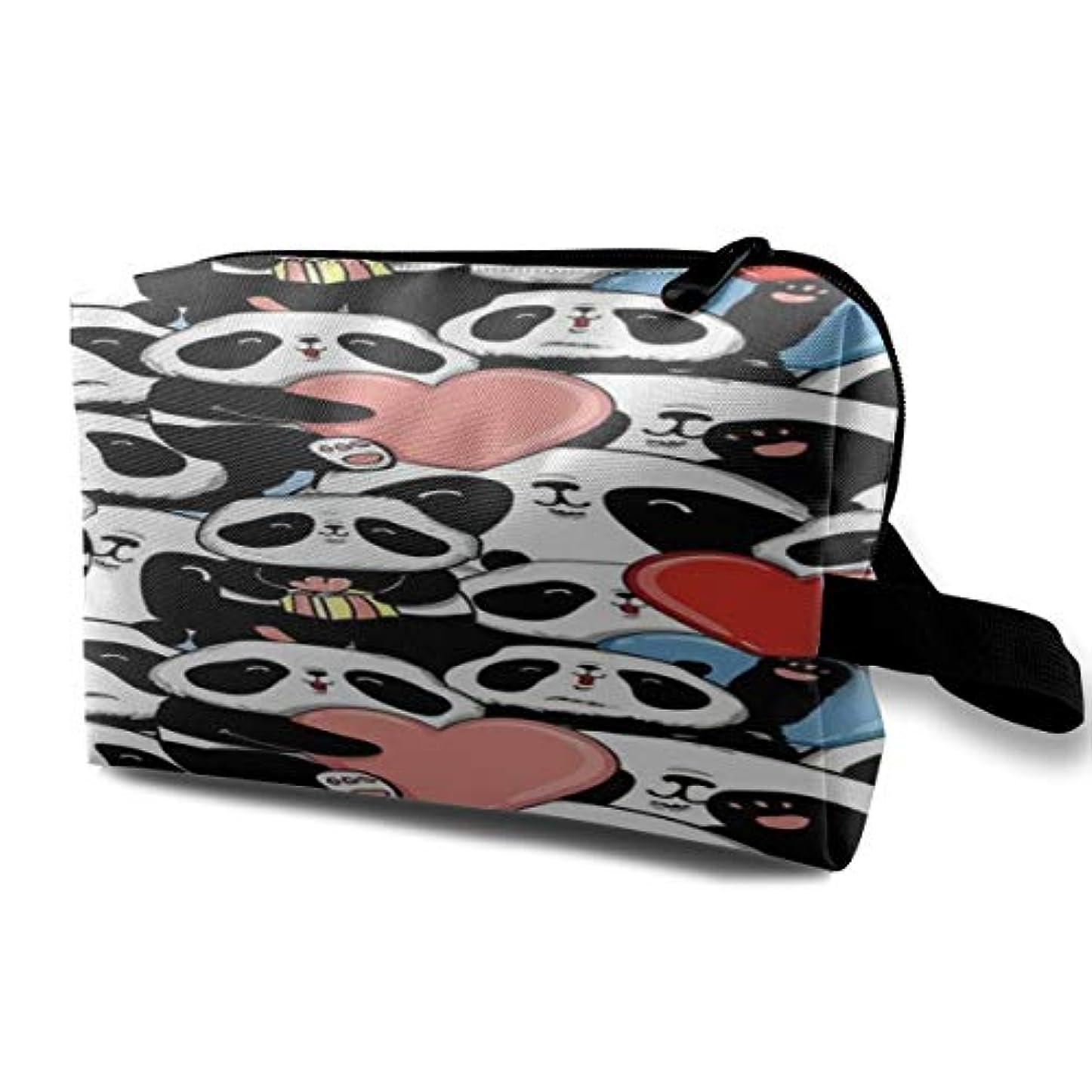 責めデザイナー広範囲にA Happy Panda 収納ポーチ 化粧ポーチ 大容量 軽量 耐久性 ハンドル付持ち運び便利。入れ 自宅?出張?旅行?アウトドア撮影などに対応。メンズ レディース トラベルグッズ