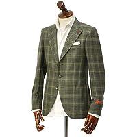 先行販売 早得 【袖修理無料】[ISAIA【イザイア】] シングルジャケット 8516V 490 8C SAILOR ウール シルク リネン グレンプレイド グリーン×ホワイト