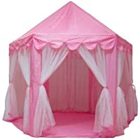 Girls playingテントプリンセスCastle Play House Large Outdoor Kids Play Tent for Girlsピンク