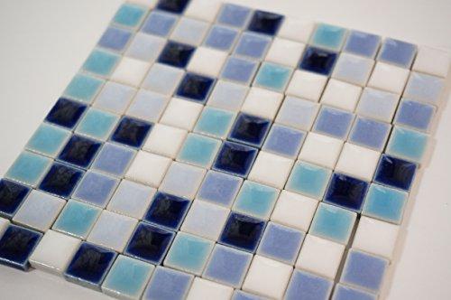 モザイクタイル 陶器 ばら 10㎜角 レトロ調 ブルー系4色 + 白混合 10㎜角 クラフト ハンドメイドに(300g)