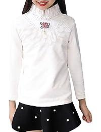 Zhhlaixing 子供服 Kids Girls Flower Stand Collar Cotton Bottom Long Sleeve T-shirts ロングスリーブTシャツ Shirt Thin Fleece...