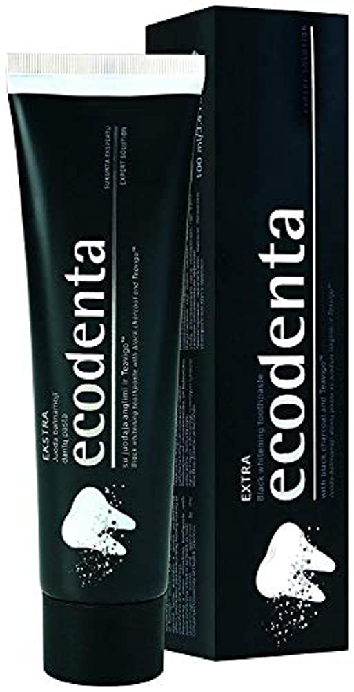 可塑性留まる現像[(ECODENTA) ECODENTA] [ EKSTRA black whitening toothpaste with black charcoal and Teavigo, 100 ml(Pack of 2)]...