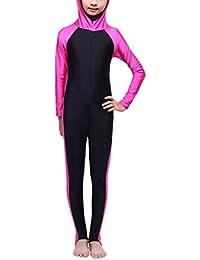 Zhhlaixing 女の子の水着 Muslims Swimsuit Kids Girls Modest Swimwear Beachwear Burkini Full length hw20e#