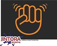JINTORA ステッカー/カーステッカー - The Shocker Fist - ショッカー拳 - 107x99 mm - JDM/Die cut - 車/ウィンドウ/ラップトップ/ウィンドウ - オレンジ