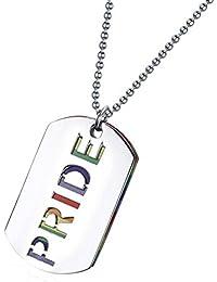 SONONIA LGBT レズビアン ゲイ プライド PRIDEレター レインボー フラッグ ペンダント ネックレス ドッグタグ 宝石