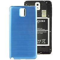 Diffomatealliance Back cover ギャラクシーノートIII / N9000のための白いフレームと裏カバーフルメタルブラシ電池カバー(ブルー) (色 : Blue)