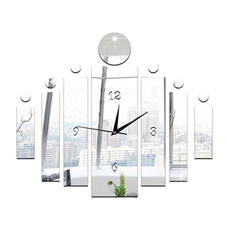 YUANSHOP1 創造的な DIY手作り 壁時計 ウォールクロック インテリア ウォールステッカー 鏡面仕上げ 壁アート 部屋装飾 ファッション 簡単 おしゃれ(シルバー)