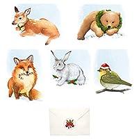箱入りクリスマスカード かわいい動物デザイン 封筒とクリスマスステッカー付きカード20枚セット