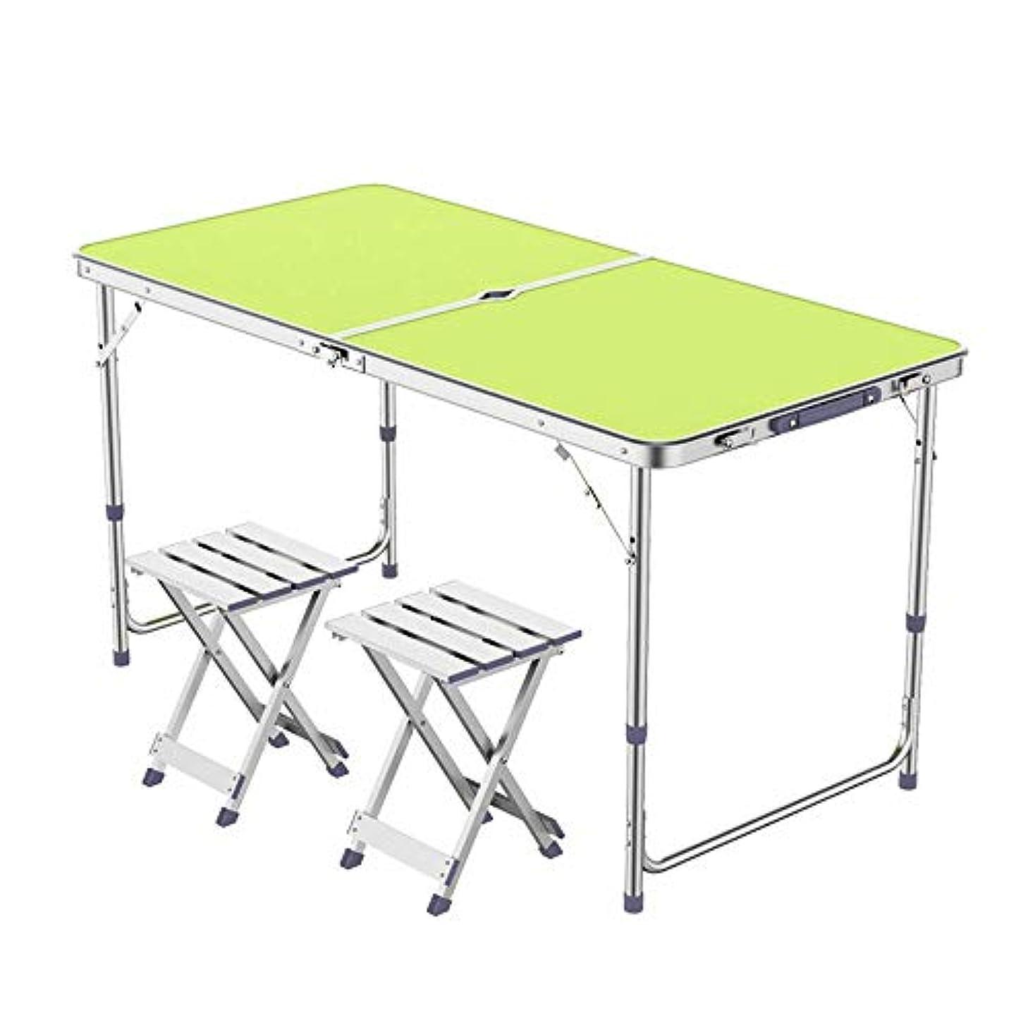 余分な気を散らすダイバーL-H-X 折りたたみテーブル屋外拡散テーブルプッシュ折りたたみテーブルポータブルホームシンプルなダイニングテーブルと椅子ピクニックテーブル(テーブル+アルミスツールX 2) (版 ばん : B)