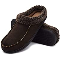 ULTRAIDEAS Men's Comfort Suede Fabric Memory Foam Fluffy Fleece Lined Slippers Non Skid House Shoes W/Wool-Like Collar