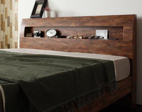 【ボンネルコイルマットレス:ハード付き】シングル【Jack Timber】ジャック・ティンバー 棚・コンセント付きユーズドデザインすのこベッド【ノーブランド品】