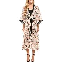 Zeagoo Women's Floral Flowy Kimono Cardigan Chiffon Wrap Maxi Dress 3 4 Sleeves
