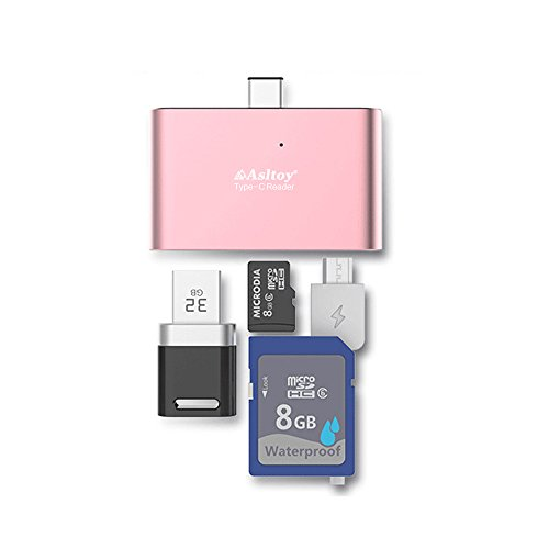 USB C カードリーダー Type C Asltoy 5 in 1 SD カードリーダー TF USB C ハブ USB-A-Micro 多機能 カードリーダー OTG機能 マルチカードリーダー メモリカードリーダ micro sd (ローズゴールドB)