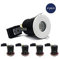 4×Sanlumia LED火災定格ダウンライト缶GU10陥凹天井ツイスト&ロック交換可能ダウンライトIP65ホワイト