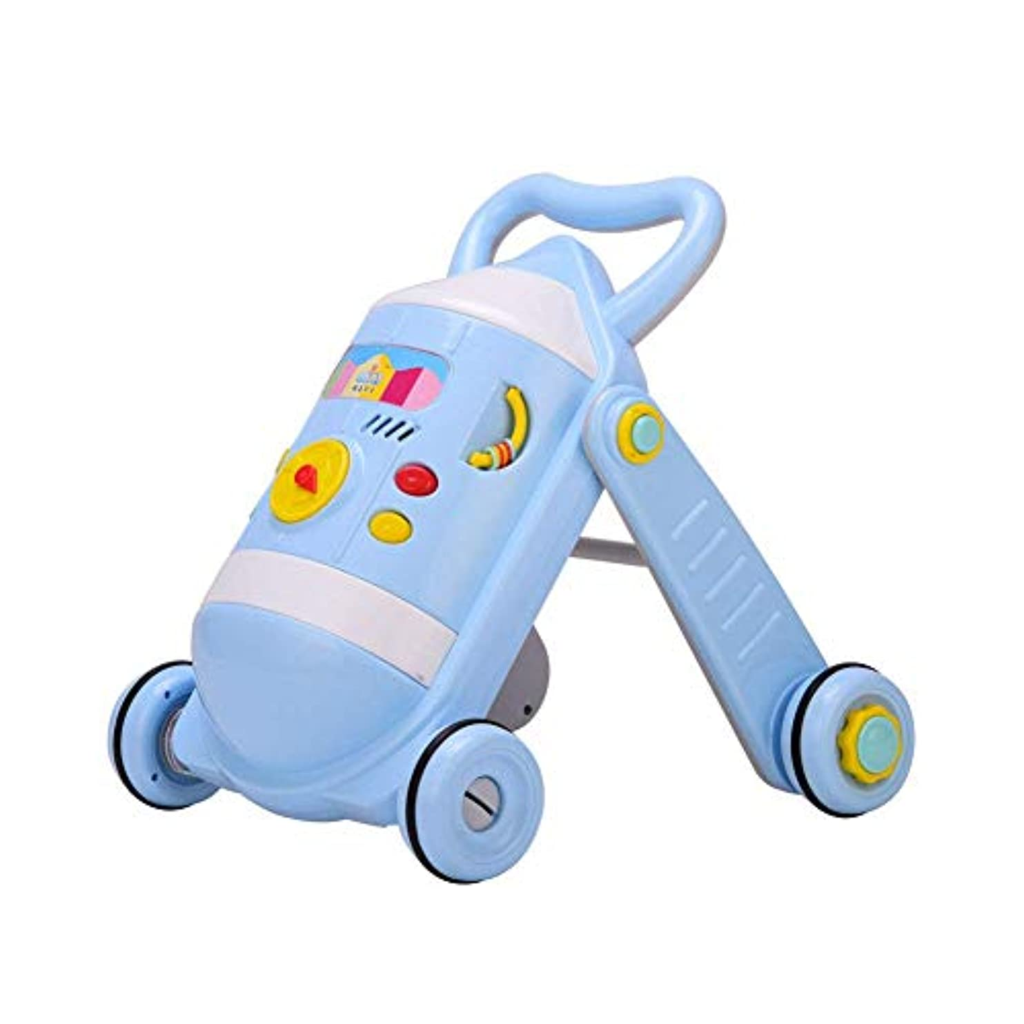 マウスバルコニー情緒的楽しいパネルとウェイトベアリングケトル付きベビーウォーカー、耐衝撃性、調整可能な速度、青