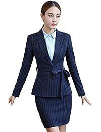 [美しいです] レディース スーツ コート セット 二点セット 長袖 レジャー OL スリム 春 秋 就活 通勤 ビジネス用 面接 小さいサイズ ストライプ ベルト