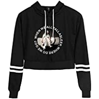 Flyself Girls Billie Eilish Crop Top Hoodie Kawaii Long Sleeve Hooded Short Sweatshirts Jumper Tops for Men Women Teen