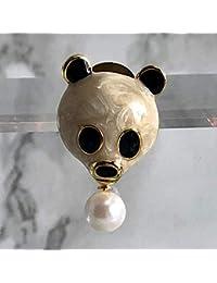 本真珠 天然色 AKOYAパール約7mm パンダさんブローチ
