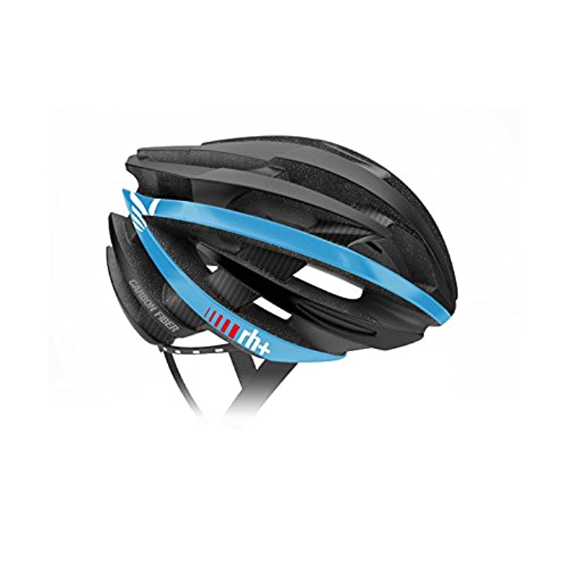 口述締め切り説明rh+(アールエイチプラス) EHX6061 ZY Special Edition Fiber Carbon 07 マットブラック/マットホワイト/マットブルー XS/M ヘルメット EHX6061ZY-BKWHBL-XSM