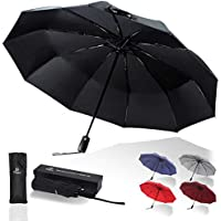 Tinya Windproof Auto Travel Umbrella: Men Women 10 Sturdy Large Strong Rib Durable Compact Portable Small Lightweight Folding Best Mini Collapsible Automatic Open Close Backpack Rain Umbrellas