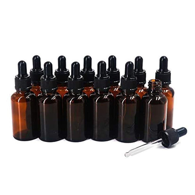 テクトニック接続された不測の事態Yiteng スポイト遮光瓶 アロマオイル 精油 香水やアロマの保存 小分け用 遮光瓶 保存 詰替え ガラス製 30ml 12本セット (茶色)