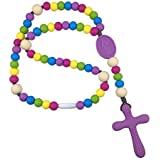 Chews Life Purple Rainbow Rosary | Silicone Teething Rosary | Boys' or Girls' Baptism or Mass Toy [並行輸入品]
