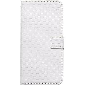 PLATA iPhone 6 Plus ケース 手帳型 市松 模様 チェック ブロック スタンド ケース ポーチ 格子柄 手帳カバー iphone 6プラス 6sプラス 【 ホワイト ほわいと 白 white 】 IP6P-6009WH