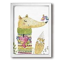 King Duck 狐 小鳥 セーター 絵画 インテリア フレーム装飾画 アートポスター 壁画 アートパネル 壁掛け 木枠付き White