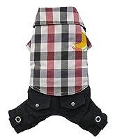 犬用パンツ、ダークブルー/レッドのチェック柄付きドギードリーC268シャツ