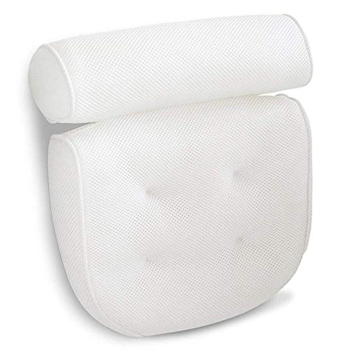 首尾一貫した死の顎指導する浴槽枕 後頭部と首をサポートするための浴槽ジャグジー、スパ、プール、ビーチチェアヘッドレストのための4強吸盤スパバス枕 バスルーム枕 (色 : 白, サイズ : 36 x 33 x 10cm)