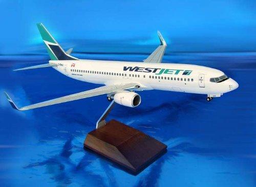 1: 100 スカイマークスSuprem Westjet ボーイング 737-800 with Landing Gear and Wood Display Stand (並行輸入)