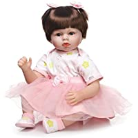Reborn Toddler人形22インチFake Pigtails Girl withピンクドレス、So Real Baby Face Kids Playmate