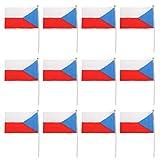 Fityle 12枚 ミニ 国旗 祭り 運動会 学校グループ 手回し 各国 フラグ スティック付き 装飾 多種類 - チェコ