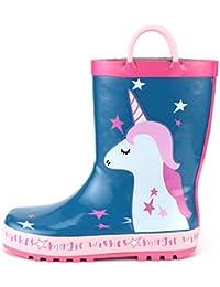 [KushyShoo] 長靴 キッズ レインブーツ ハンドル?収納袋付き 雨靴 女の子 男の子 男女兼用 梅雨対策 アウトドア 通園?通学用 13.5cm~21cm
