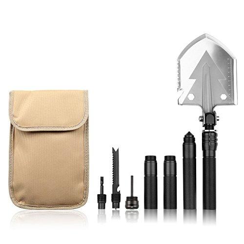 Winhi多機能シャベル アウトドアスコップ 折りたたみシャベル キャンプと園芸用品 緊急ツール 取り外し可能 折り畳み式 15機能 収納バッグ付き ブラック