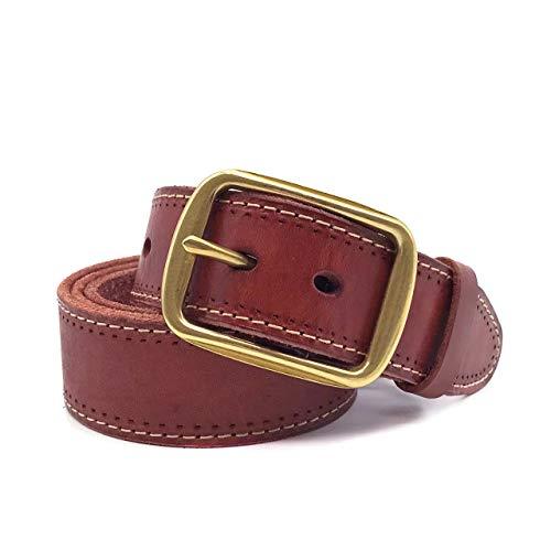 dfc4aab4aad5 [RITTA BERA] 本革 ベルト メンズ カジュアル レザー 革 1枚革 ビジネス ゴルフ シンプル ゴールド バックル 大きいサイズ  ポンチ付き 茶 (125cm, ブラウン )