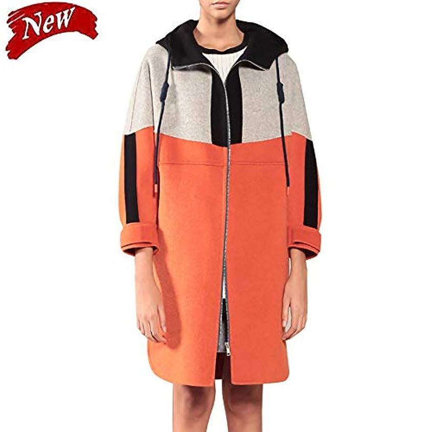 非難するつづり線ウールコート、秋と冬の新しいカラーマッチング両面コートウールコートレディースジャケットレディース?コートレディースウインドブレーカージャケット,オレンジ色,L