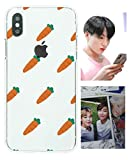 BTS スマホケース Jungkook ジョングク 電話ケース + 防弾少年団 フォトカード, iPhone スマホケース & Galaxy 携帯ケース かわいいニンジン柄 Army - iPhone X/XS、XS Max、XR、8/7、8 Plus/7 Plus, 6/6S, 6 Plus/6S Plus, Galaxy S10, S10 Plus, S9, S9 Plus, S8, S8 Plus (iPhone X/XS)