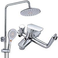 バスルームシャワーシステム - バスルームデラックスレインシャワーミックスセット、フル銅の蛇口シャワー、調節可能なシャワー、インウォール、クリーンで簡単に設置