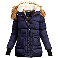 Jessica Simpson Women's Hooded Puffer Bubble Jacket with Faux Fur Lined Hood