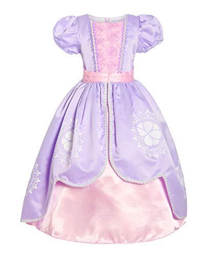 1ea2a148b170e ReliBeauty 小さな女の子用 プリンセス ソフィア コスチューム 半袖 ドレスアップ 7 パープル RB-G9238-