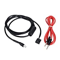 KKmoon Aux入力モードケーブル3.5MMメスダッシュマウント可能ソケットfor BMW e4698–06オーディオケーブル、電話mp3Player